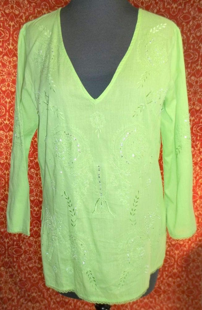 MAGAZINE green cotton long sleeve bohemian blouse w/beading  L (TF0DG5) #MAGAZINE #Blouse #Casual