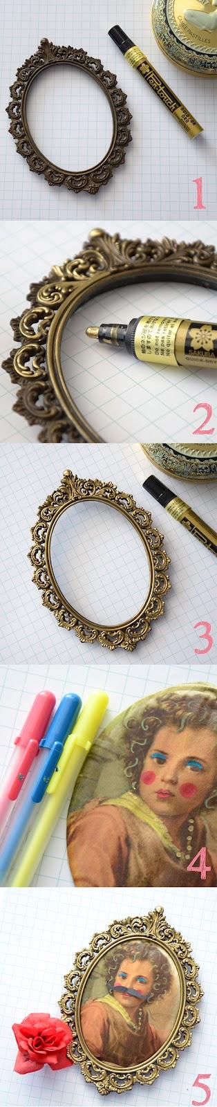 Golden vintage picture frame, painted with a golden Sakura Pen-touch | by www.bloknote.nl | mariekeblokland.blogspot.nl  | by Marieke Blokland