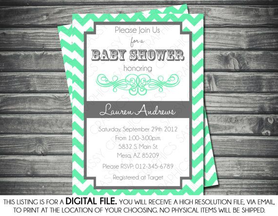 Gender Neutral Baby Shower Invitation - Chevron Stripes, Mint, Gray, Printable, Digital File on Etsy, $15.00