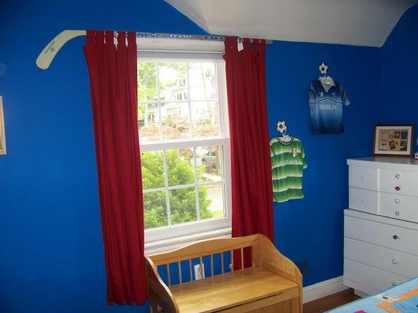 Hockey Stick Curtain Rod Hockey Bedroom Boys Hockey Bedroom Hockey Room