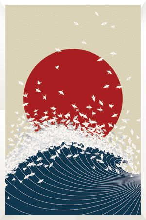 Japon Pays Du Soleil Levant : japon, soleil, levant, Japan:, Project, Senbazuru, Giapponese,, Poster, Illustrazione, Giapponese
