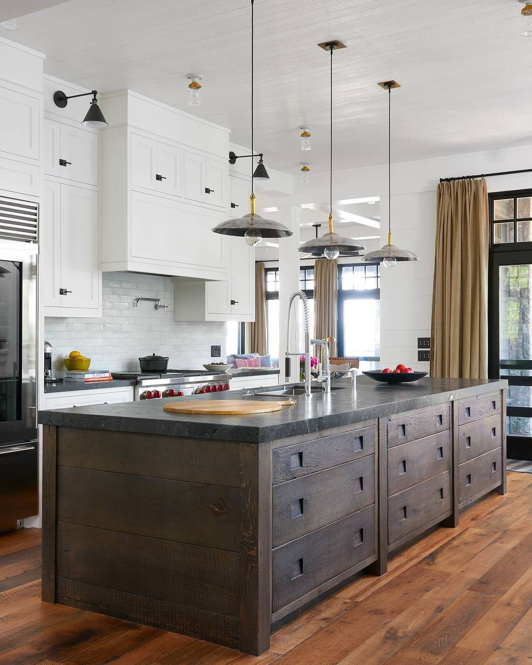 Industrial lighting + rustic wood island Combo of painted and wood ...