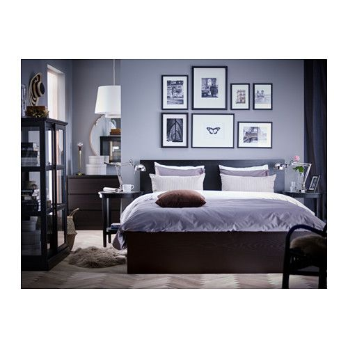 Malm High Bed Frame 4 Storage Boxes Black Brown Luroy Queen