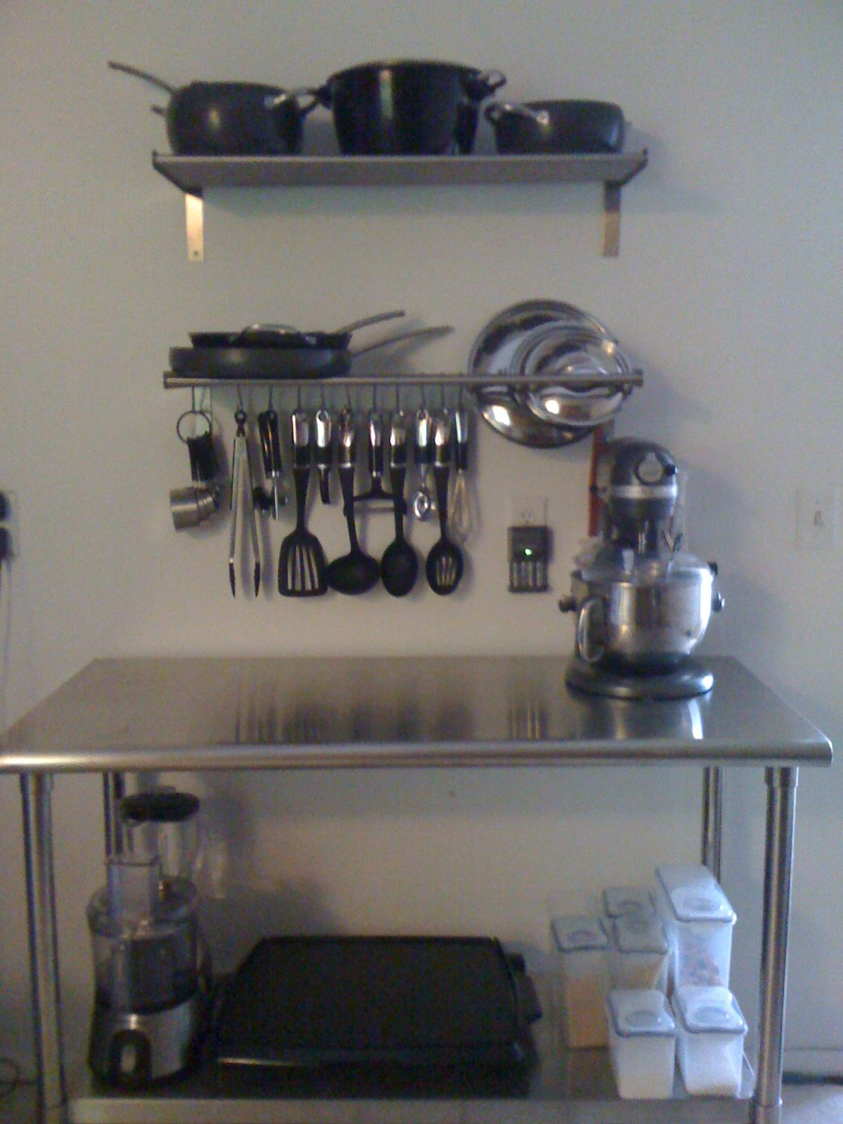 Shelves and \'s\' hooks from Ikea, stainless steel prep table from ...