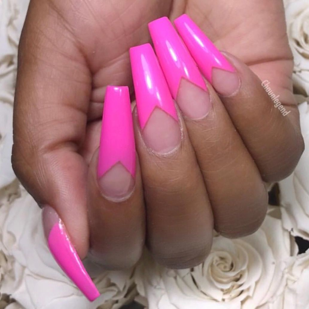 Hot Pink French With Twist Manicure Pink Nails Coffin Nails Long