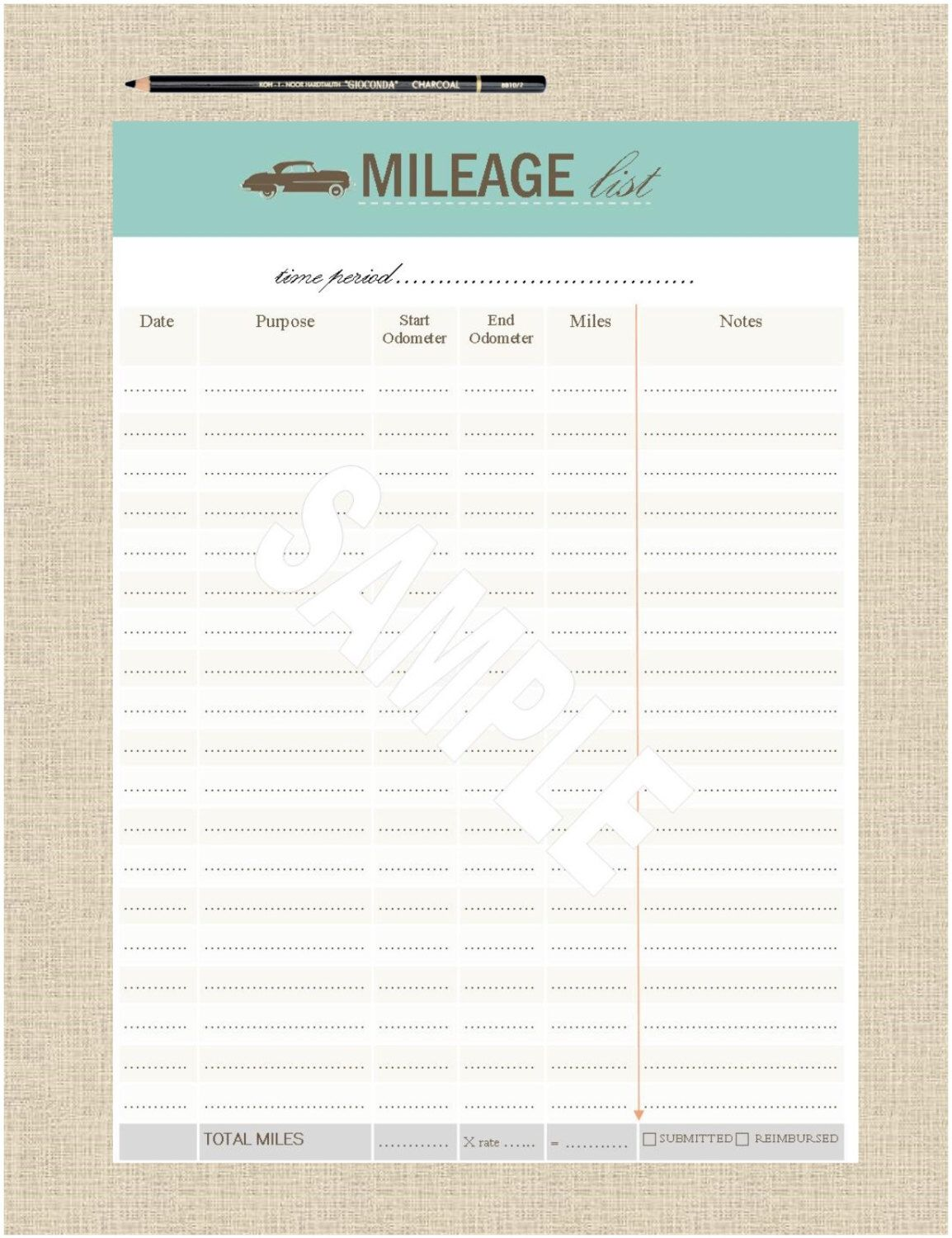 LifeS Lists Printable A Mileage Tracker List  A Bullet