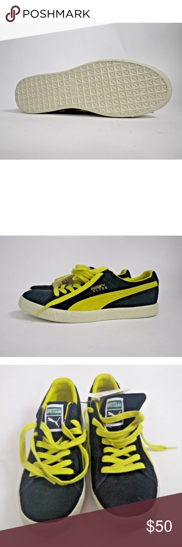 new concept e1814 78638 Vintage Puma Clyde Black and Yellow Suede Size 12 This ...