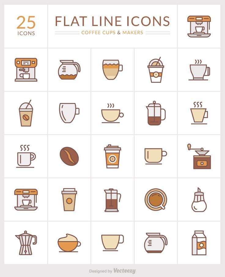 Flat line icons of coffee cups and makers #coffeecups