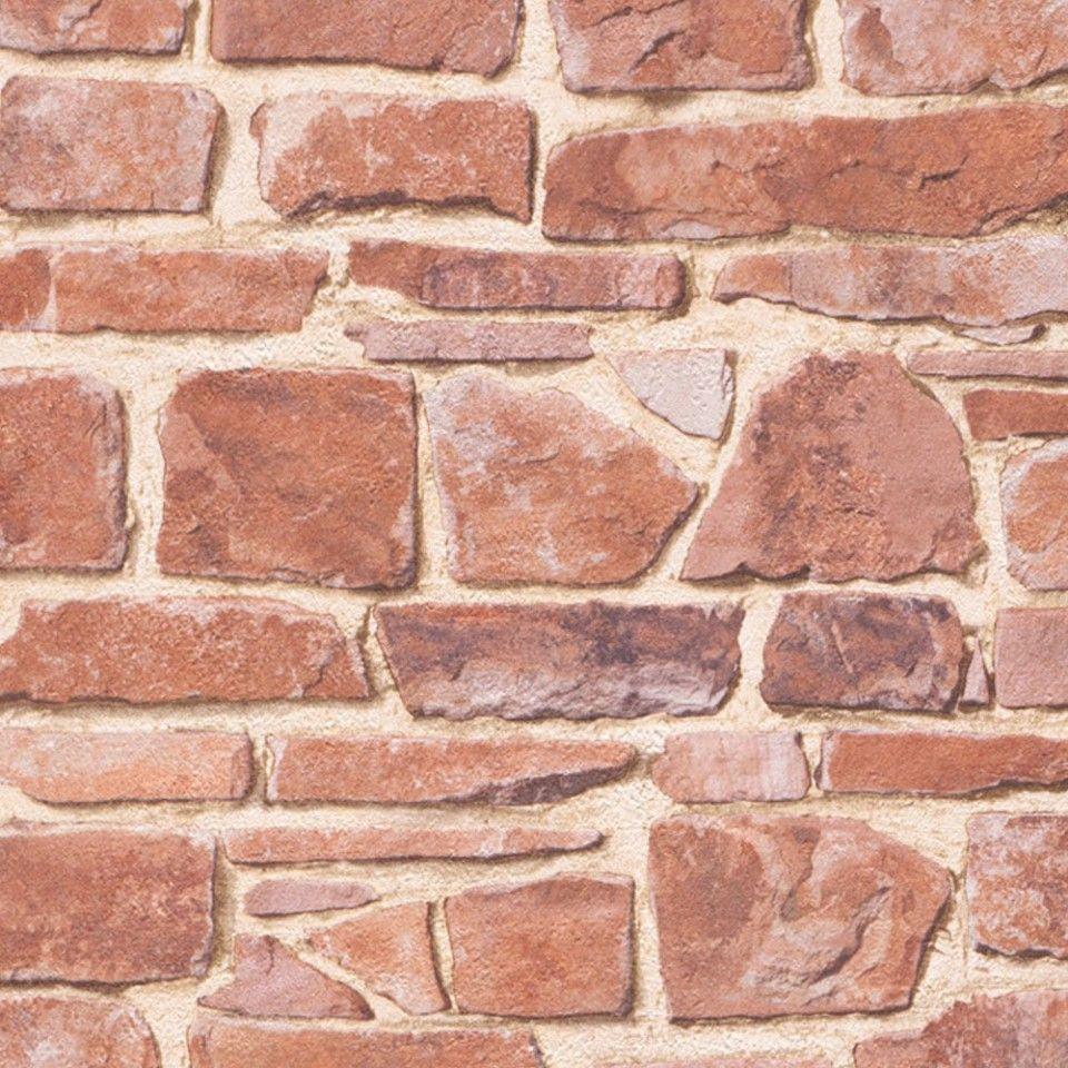 Papel pintado imitaci n piedra tono marr n rojizo - Papel pintado imitacion piedra ...