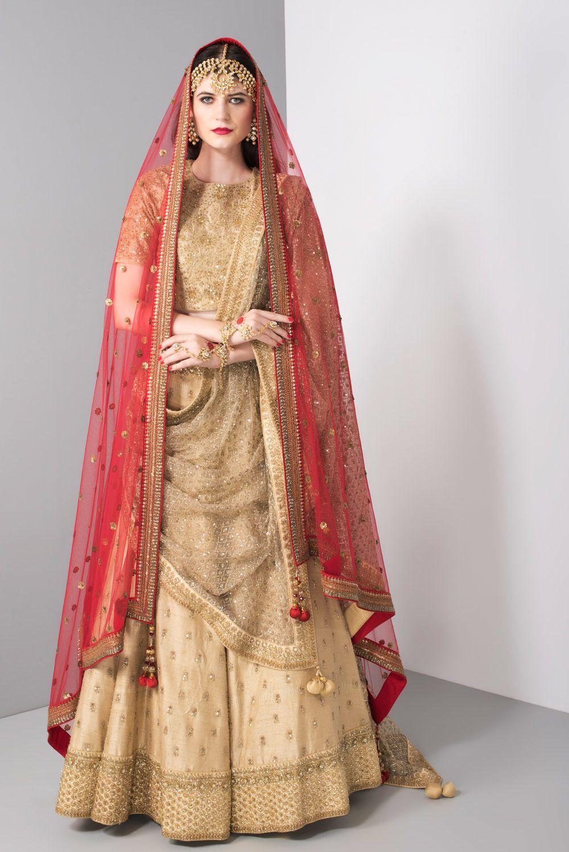 4445074659 NIYOOSH Gold Heavy Embroidered Bridal Lehenga Choli With Dupatta in ...