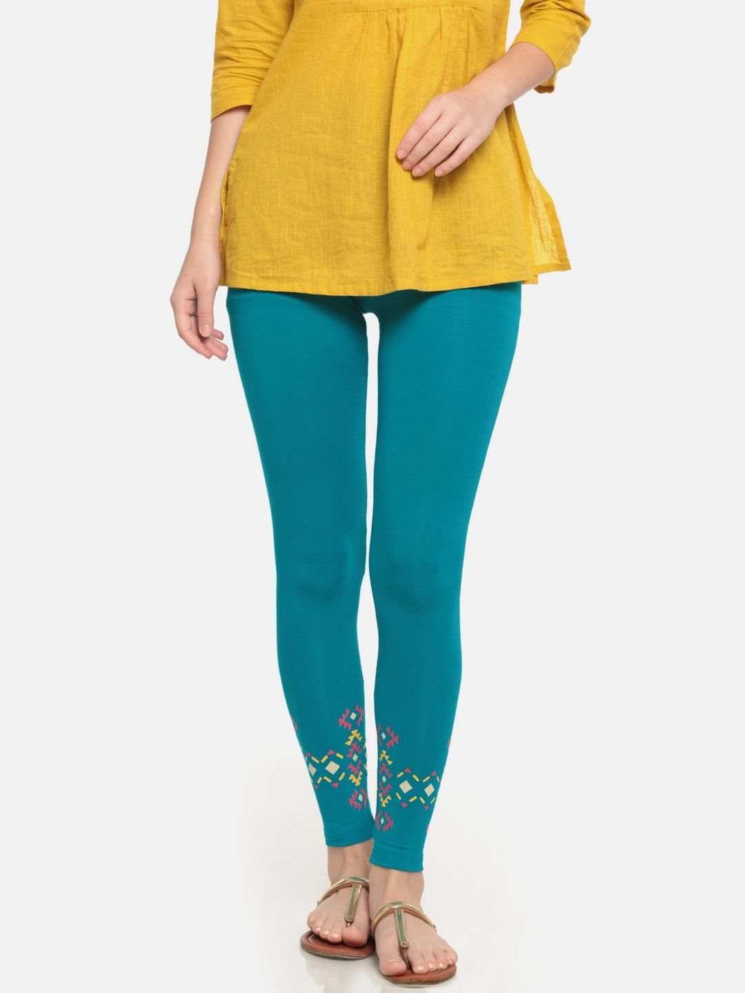 8b01ffc26b0ed De Moza Ladies Viscose Ankle Length Placement print Legging Teal #fashion  #womenstops #cybermonday #bloggerpost #bloggers #indigirl #tops  #onlinedeals ...