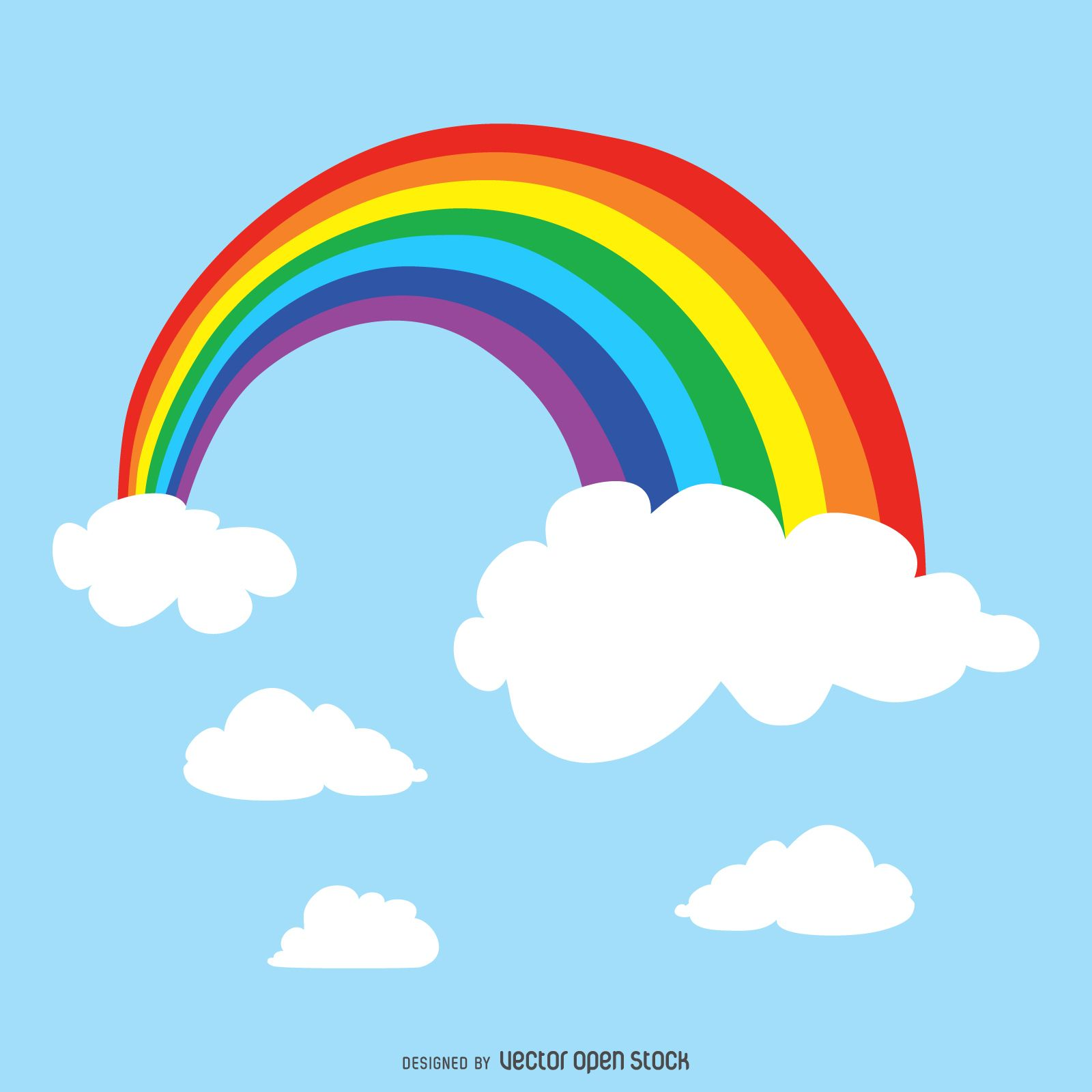 Colorful rainbow drawing. Design shows the rainbow between two cloudsand next to…