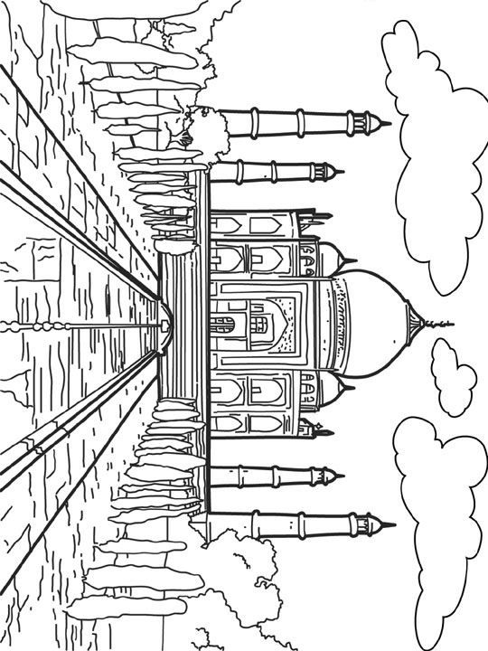 coloring page World wonders - The Taj Mahal. Agra, India | Coloring ...