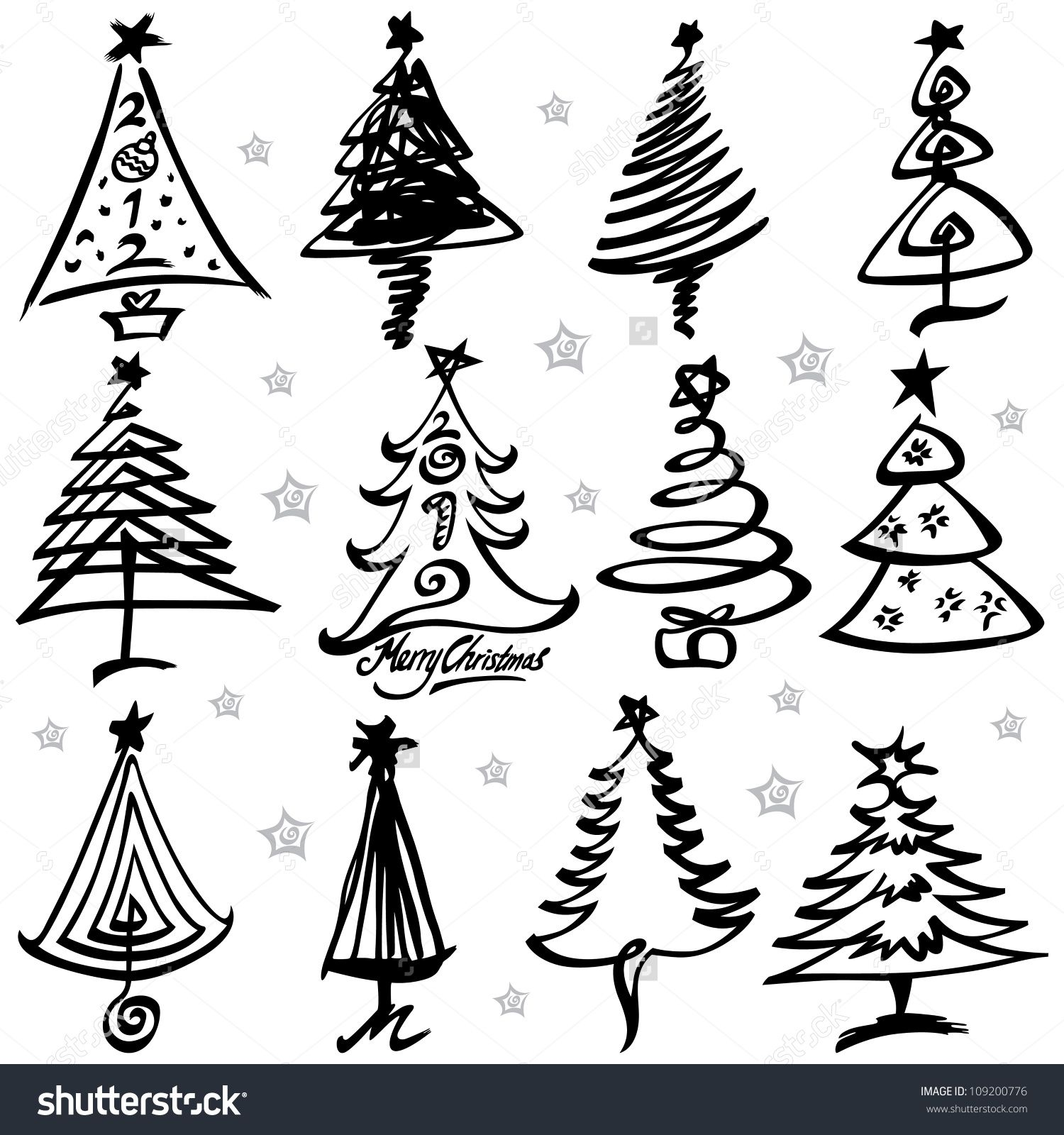 Vector Illustration Of Christmas Tree Design Set 109200776 Christmas Tree Design Christmas Tree Drawing Ribbon On Christmas Tree