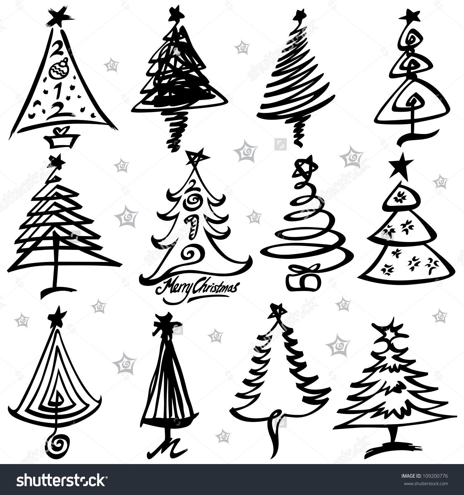 Vector Illustration Of Christmas Tree Design Set