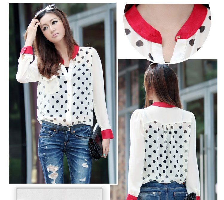 2012 UK Style New Fashion Chiffon Polka Dot Beige Shirt Women Blouse Long Sleeve T Shirt Autumn Free Shipping
