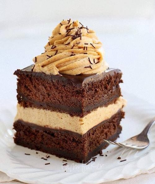 Delicious piece of chocolate cake with some caramel fudge idk