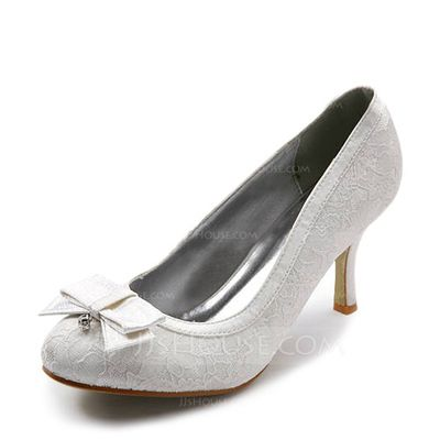Satin Stiletto Heel Closed Toe Pumps Wedding Shoes With Bowknot Rhinestone  Stitching Lace