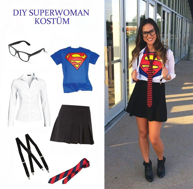 Clark Kent Superman Kostüm für Damen selber machen Fasching