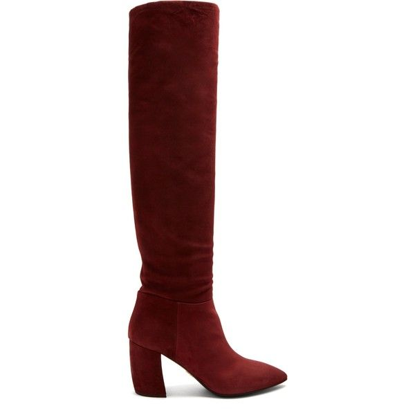 Point-toe suede knee-high boots Prada Cheap Latest Sale Ebay Free Shipping Shopping Online Quality From China Cheap Cheap Price Store BnfqRT0R7