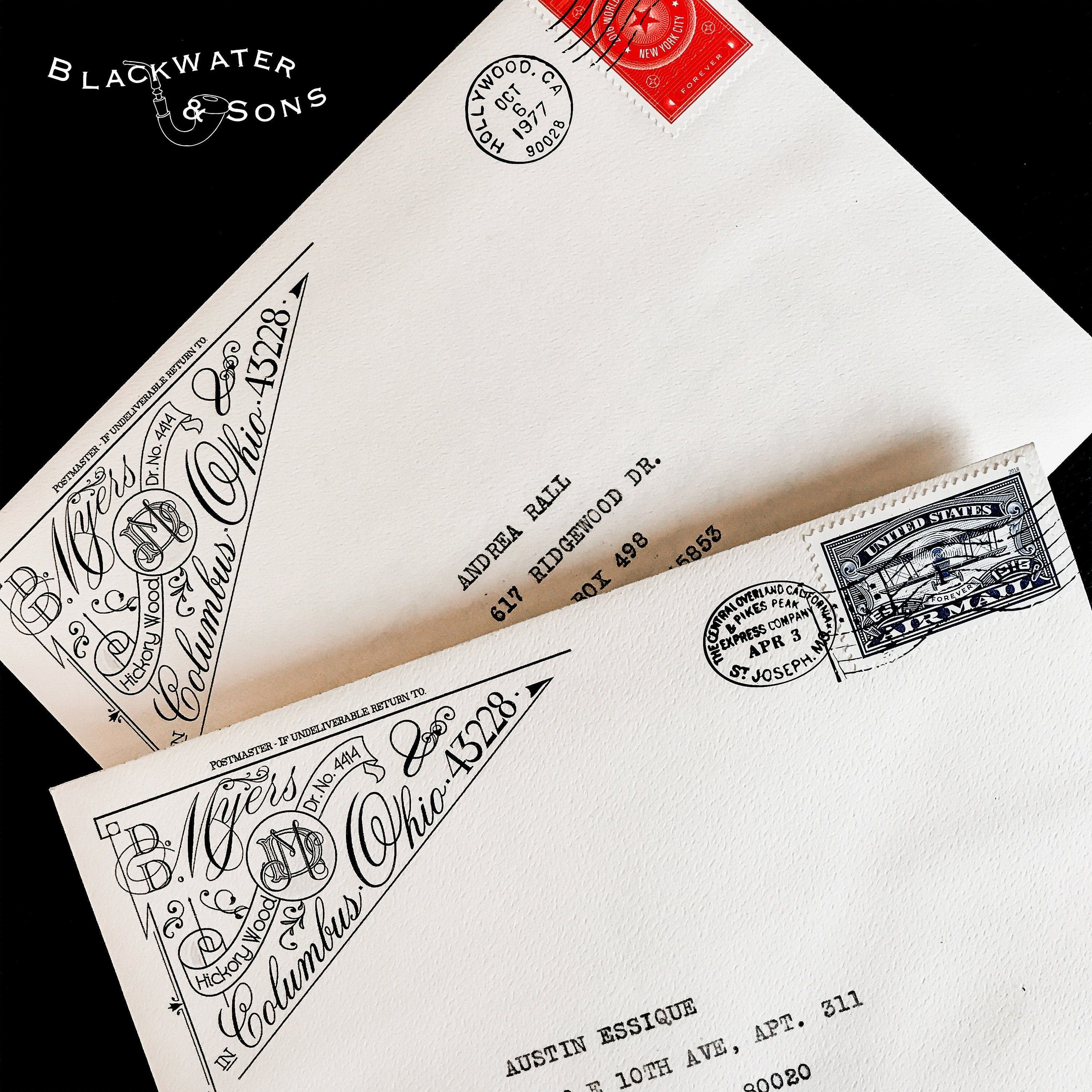 Blackwater Sons Custom Return Address Labels Are An Ode To A Bygone Age In Penmanship Mimicking Envelope Stamp Custom Return Address Labels Printing Labels