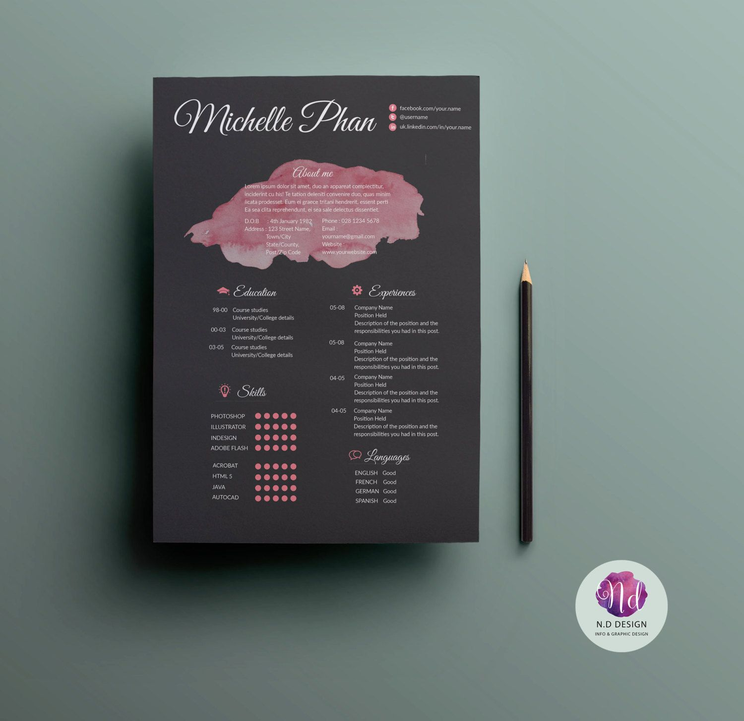 Creative Cv Template Resume Template Cover Letter Reference Letter Template 2 Color Options Elegant R Creative Cv Creative Cvs Creative Cv Template