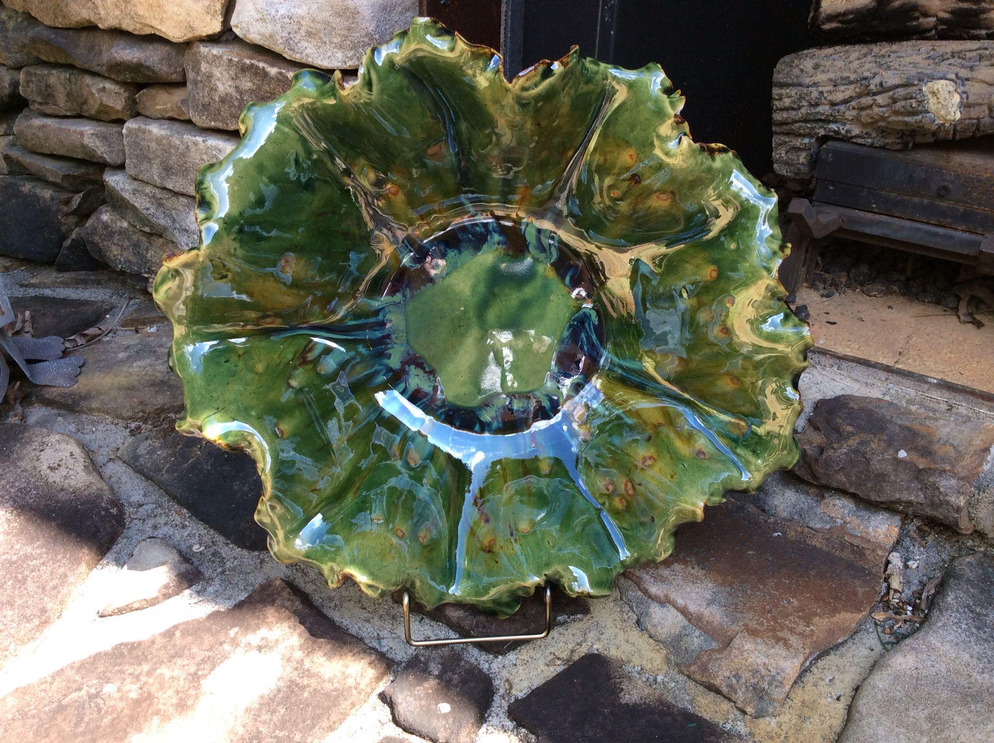 Bowl by Susan Garrett Opulence emerald & Mayco Cappacino mint