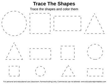 Free Tracing Shapes Worksheet Shapes worksheets, Shapes