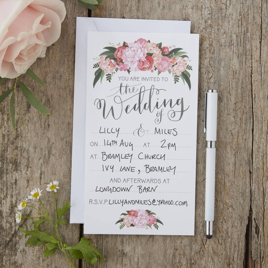 floral boho wedding invites. Vintage, boho and rustic wedding theme ...