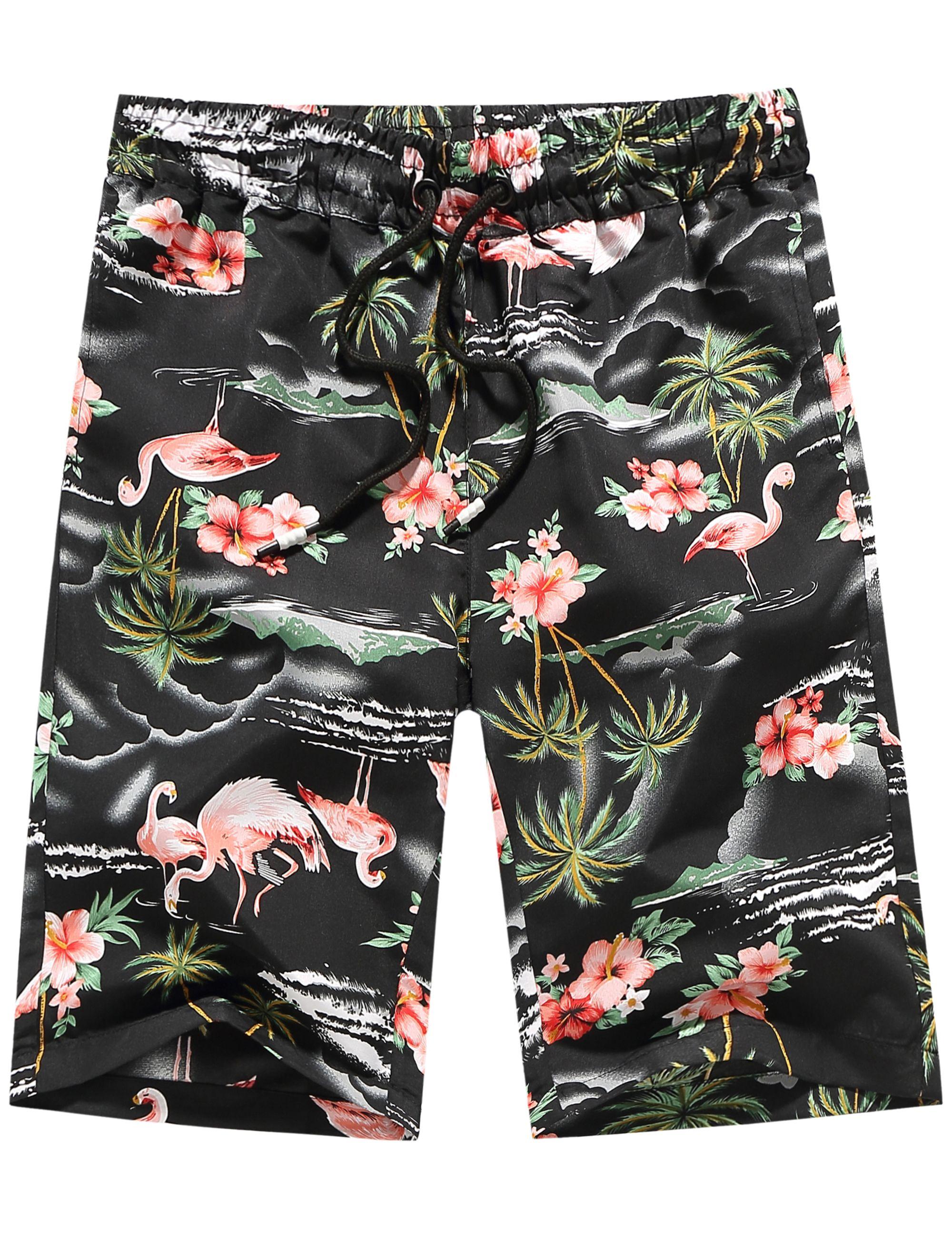 6ba7985ff7 $19.90 Men's Pink Flamingos Swimming Hawaiian Aloha Board Shorts ...