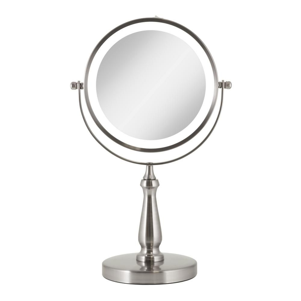 Zadro 7 75 In X 12 5 In Cordless Round Led Lighted Dual Sided Vanity Makeup Mirror In Satin Nickel Led Vanity Mirror With Lights Makeup Mirror