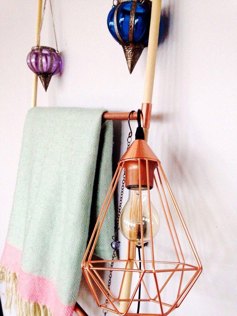 DIY: Copper and wood decorative ladder tutorial   Wood ladder ...