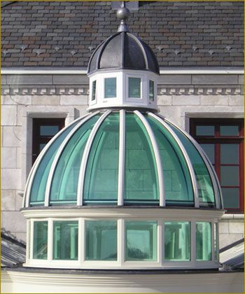 Tinted Glass Dome With Cupola Add An Elegant Hand Built Conservatory To Your Home Dome Building Glass Domes Glass Roof