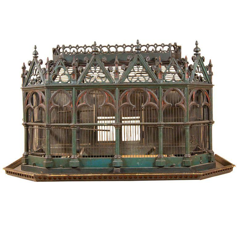 19th century birdcage in the neo gothic style vintage birdcages k fig antike vogelk fige - Gothic einrichtungsideen ...