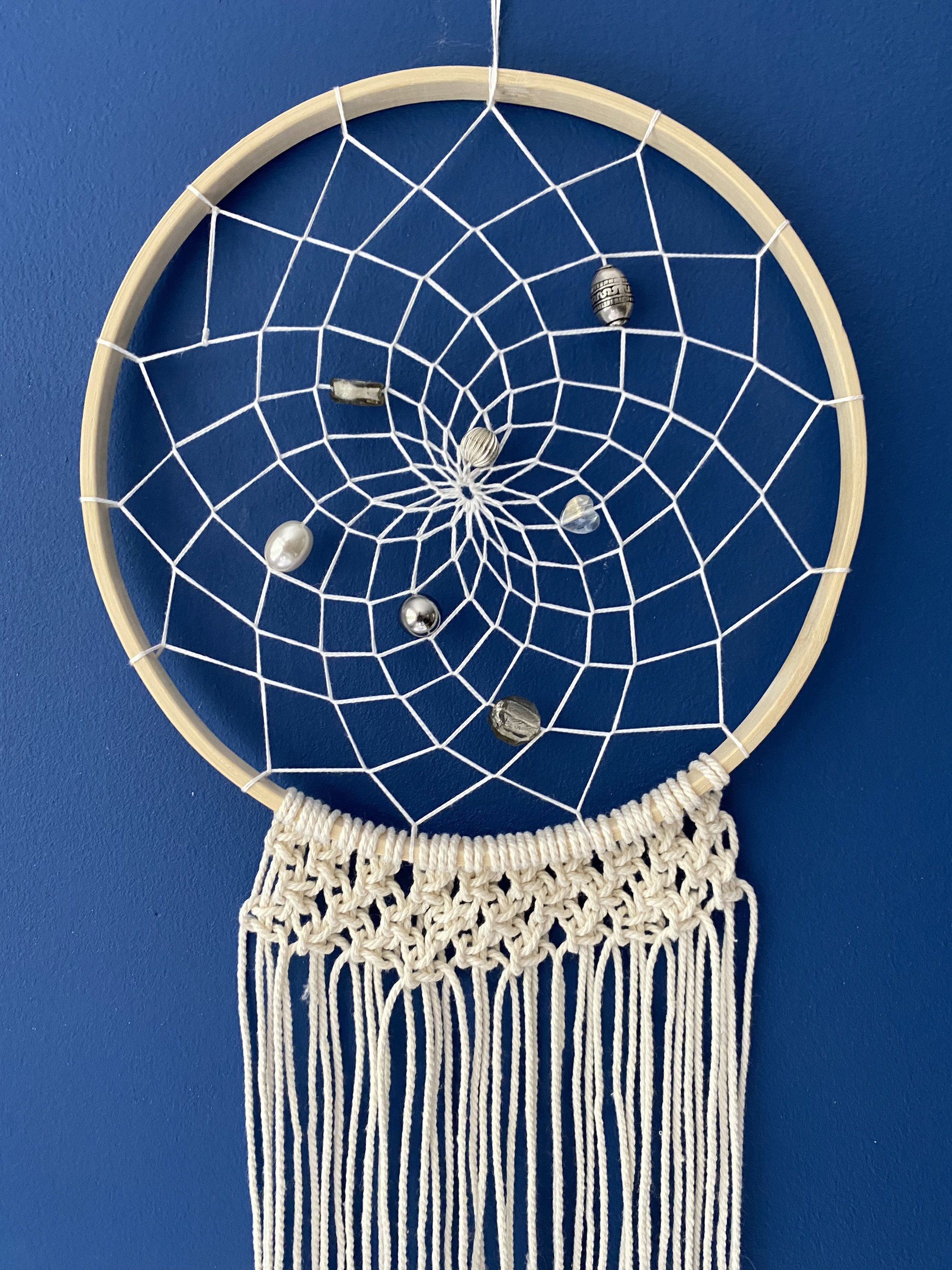 Classic Boho Dream Catcher Wall Hanging Decor with beads and macrame #tapestries #crochetmandalawall #bohodecoration #bohemianeclectic