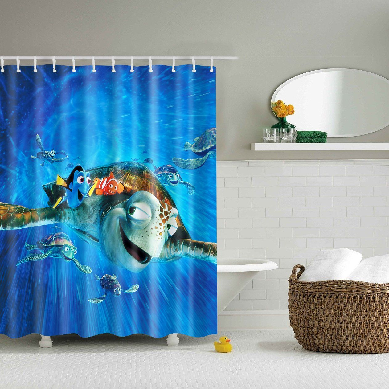 Finding Dory Nemo Dvd Cover Shower Curtain Bathroom Shower Curtains Curtains Baby Bathroom
