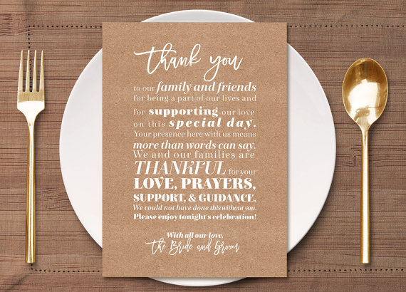 Kraft And Burlap Thank You Place Card Setting Friend Family