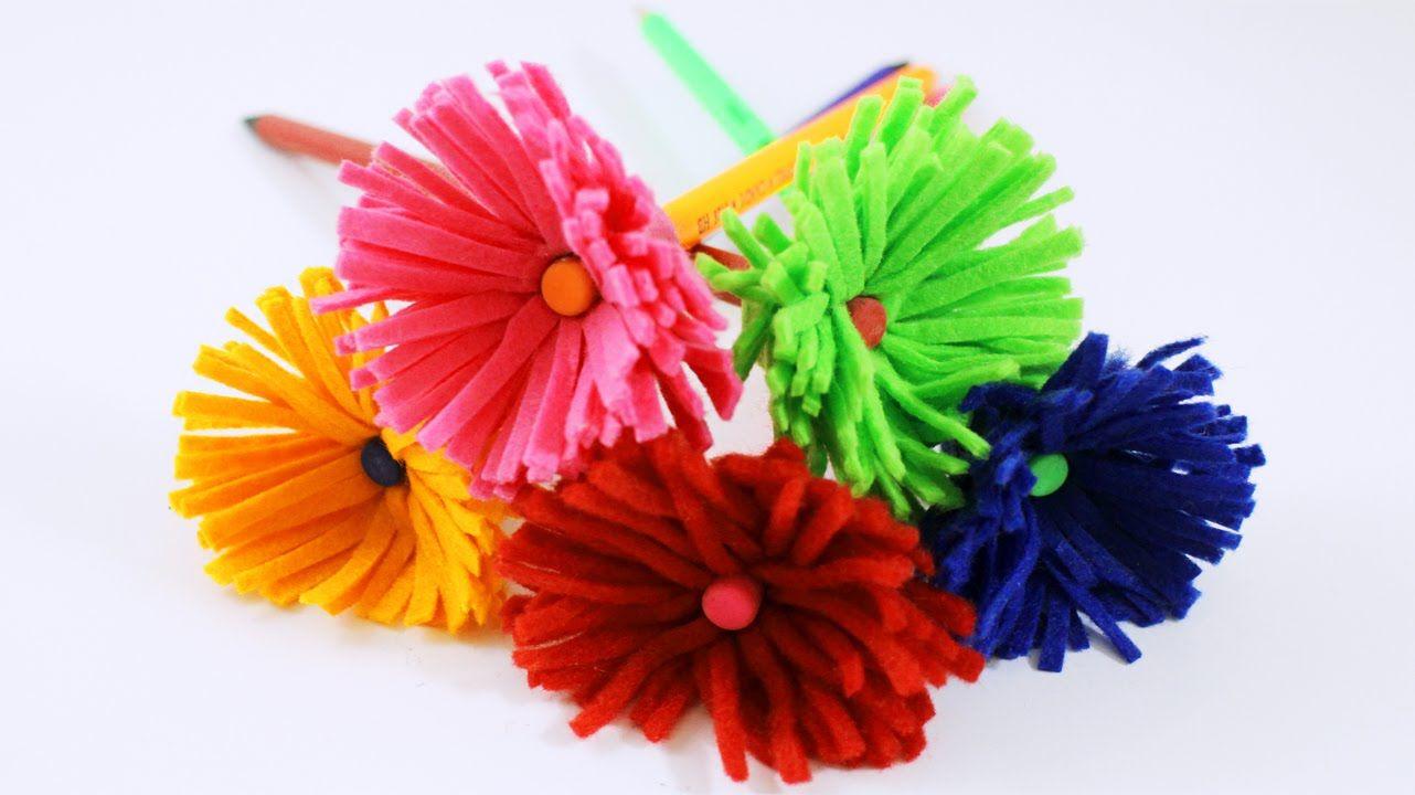 Cómo decorar lapices y lapiceros con forma de flor  // {Super Fácil} - m...