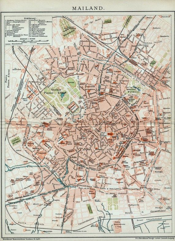 1902 Vintage Map of Milan, Italy - Vintage Milan Map - Old Milan Map ...