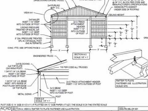30 39 x 40 39 pole barn plan youtube projects pinterest for 30x40 shop plans