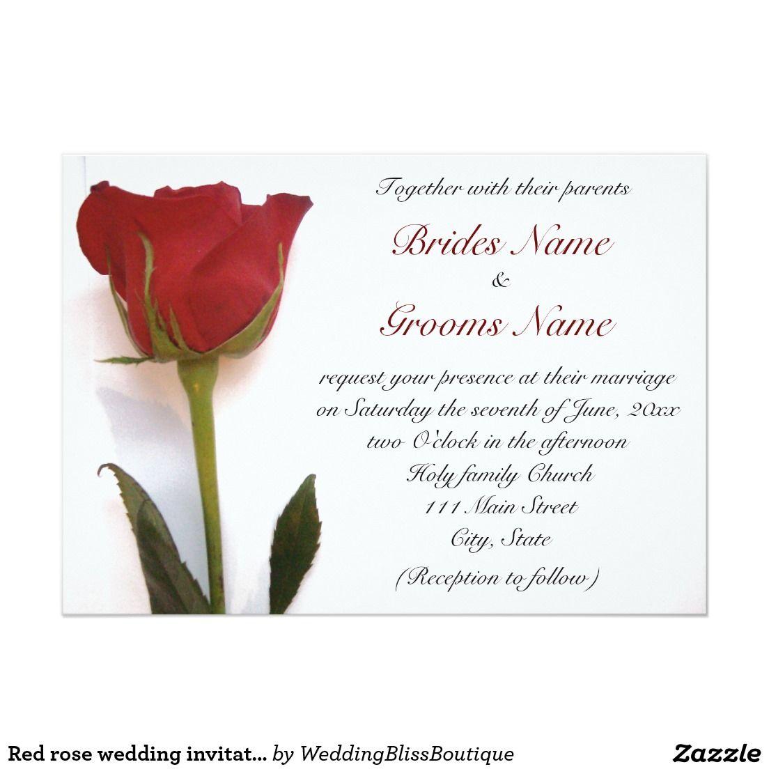 Red rose wedding invitation wedding invitations from zazzlers red rose wedding invitation stopboris Choice Image