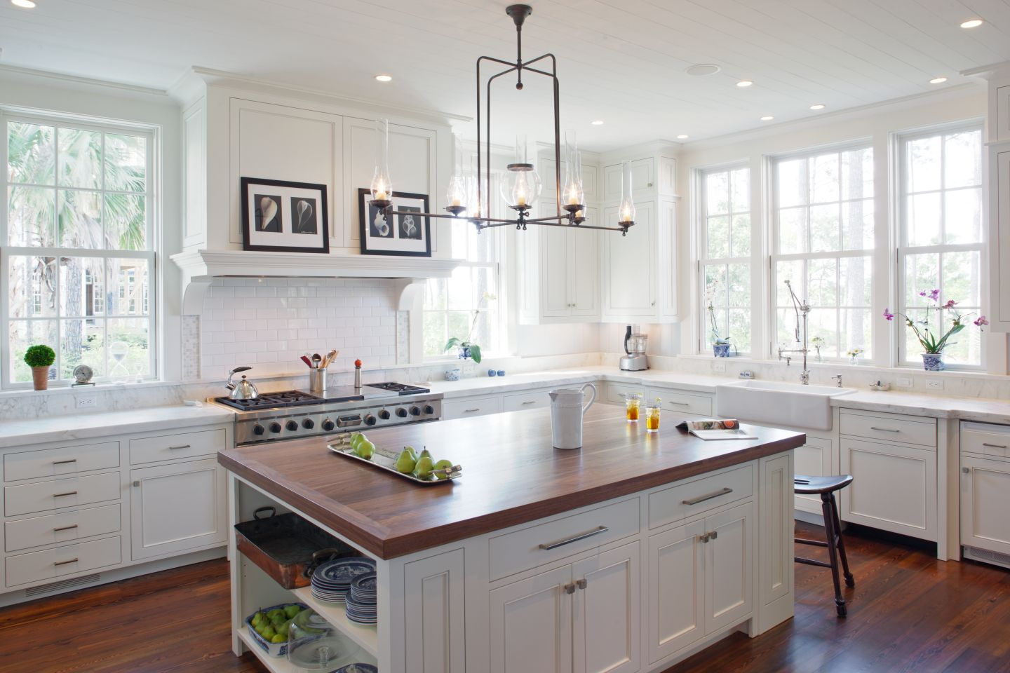 Traditional kitchen, no upper cabinets, windows galore and vintage ...