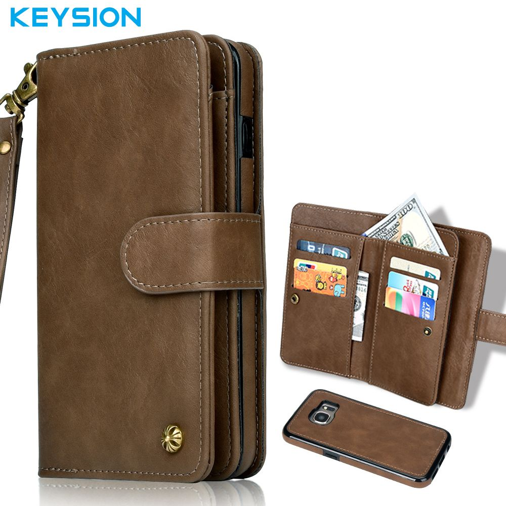 78ab3739d9b Keysion Genuine Leather Case for Samsung Galaxy S7 Edge G935 Multi  Functional 2 in 1 Stand Wallet Case Flip Cover for S7 G930
