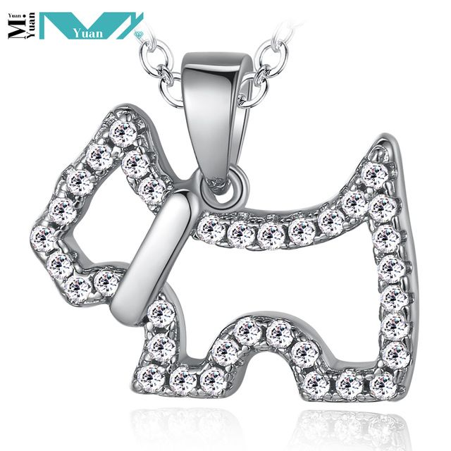 Мода ожерелье прекрасная собака цирконий стерлингового серебра