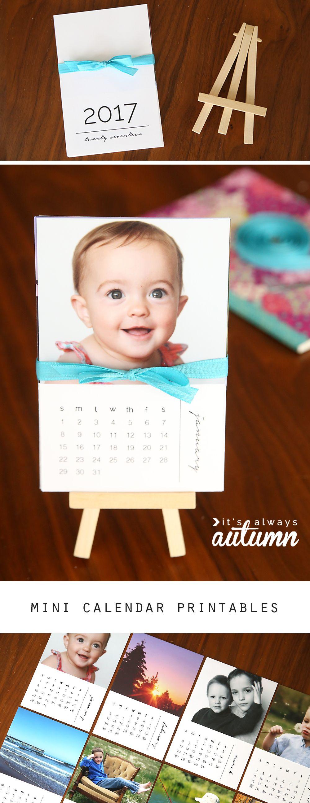 DIY mini 2020 photo calendar {free printable templates ...