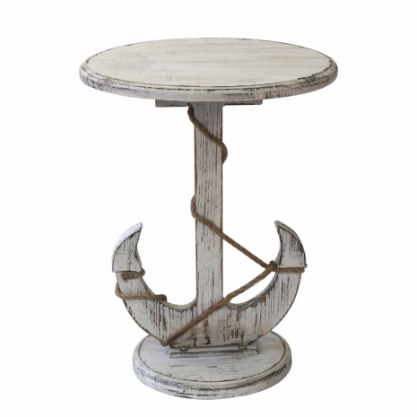 Distressed White Anchor Nautical Rope Accent Table Beach Style