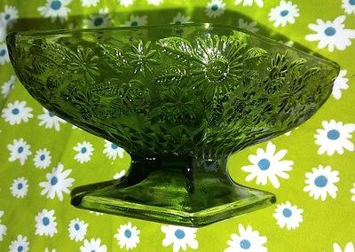 Indiana Glass Green Diamond Candy Dish Compote Flowers Footed
