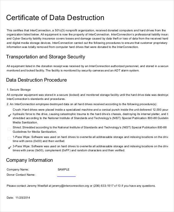 Destruction Certificate Template 6