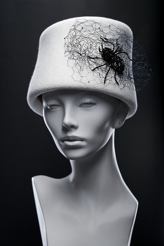 """Velour felt couture hat """"Black widow"""""""