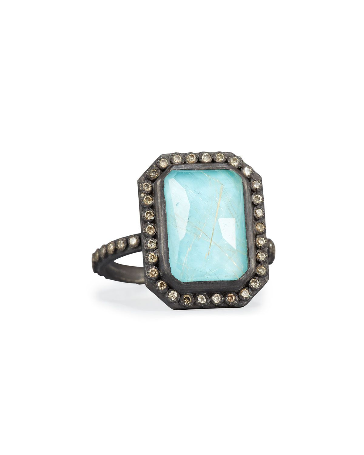 Armenta Old World Midnight Turquoise & Quartz Doublet Ring with Diamonds gV0yLxEOq6